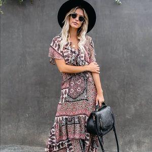 NWT Lovestitch Vici Boho Ruffle Maxi Dress